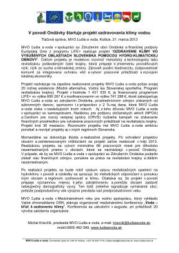 Tlačová správa, 21. marec 2013