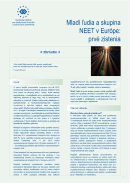 Mladí ľudia a skupina NEET v Európe - Eurofound