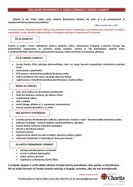 základné informácie o vzniku/obnove farskej charity