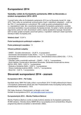 Europoslanci 2014 Slovenskí europoslanci 2014 - zoznam