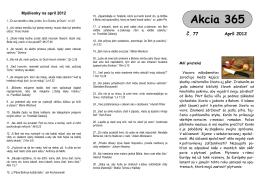 Akcii 365 na apríl 2012