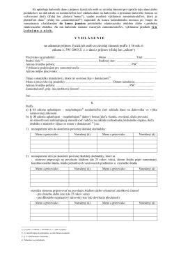 Vyhlásenie na zdanenie príjmov za rok 2013