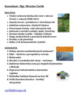 Témy ročníkových prác v školskom roku 2013-2014
