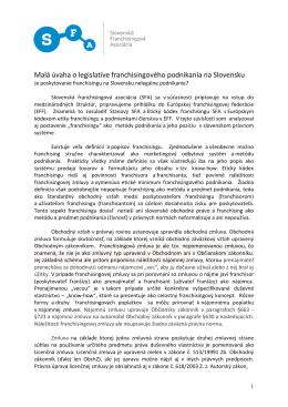 Malá úvaha o legislatíve franchisingového podnikania na