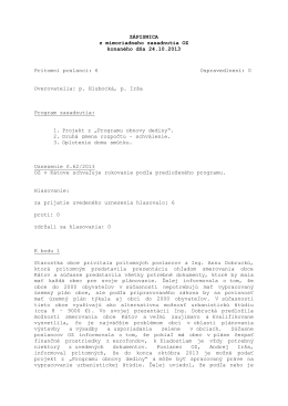 Zápisnica OZ zo dňa 24. 10. 2013