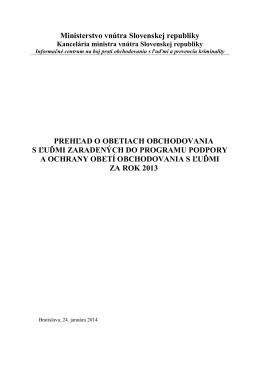 Vyhodnotenie Programu podpory a ochrany obetí obchodovania s