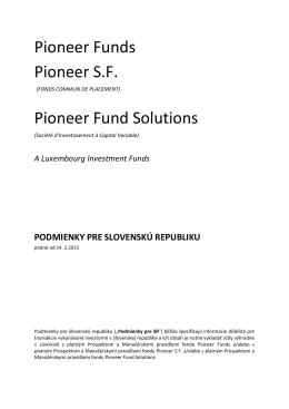 Podmienky pre SR - Pioneer Investments