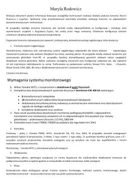 Maryla Rodowicz Wymagania systemu monitorowego