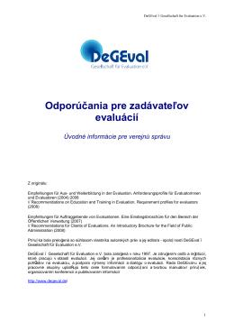 Odporúčania pre zadávateľov evaluácií