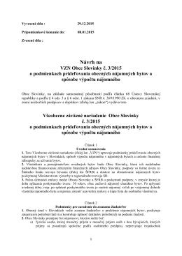 Návrh VZN 3/2015 o podmienkach prideľovania obecných