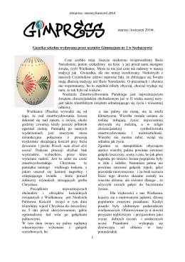 marzec/ kwiecień 2014r. Gazetka szkolna wydawana przez uczniów