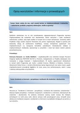 Opisy warsztatów i informacje o prowadzących