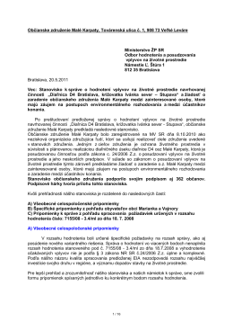 Stanovisko OZ Malé Karpaty k EIA D4