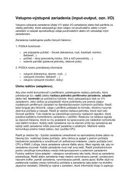 Vstupno-výstupné zariadenia (input