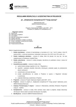 Regulamin rekrutacji i uczestnictwa w projekcie ICT