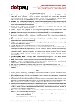 Regulamin współpracy Akceptanta z Dotpay przy realizacji płatności