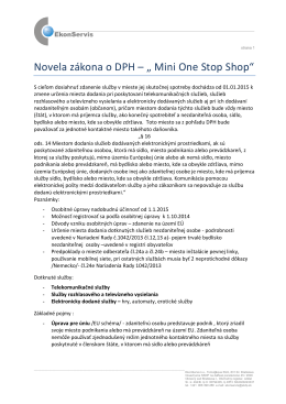 "Novela zákona o DPH – "" Mini One Stop Shop"""
