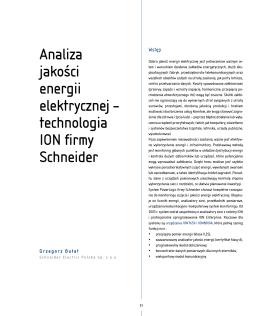Analiza jakości energii elektrycznej – technologia iON firmy schneider