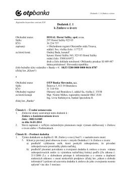 Dodatok č. 1 k Zmluve o úvere