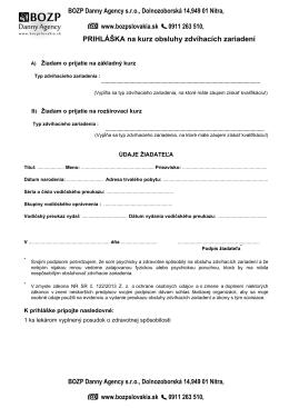 PRIHLÁŠKA na kurz obsluhy zdvíhacích zariadení