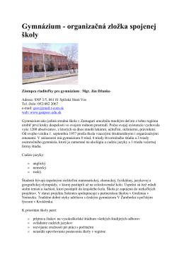 Gymnázium - organizačná zložka spojenej školy