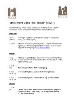 Pútnické miesto Skalka( PMS) kalendár roku 2014