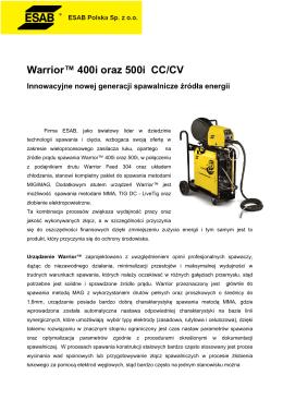 Warrior™ 400i oraz 500i CC/CV