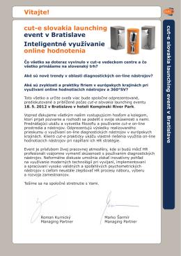 cut-e slovakia launching event v Bratislave Inteligentné využívanie
