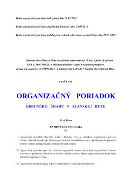 Organizačný poriadok Obecného úradu