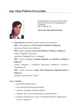 mgr Alicja Poliwka-Gorczyńska - O Instytucie Nauk Społecznych