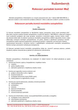 Rokovací poriadok komisií MsZ
