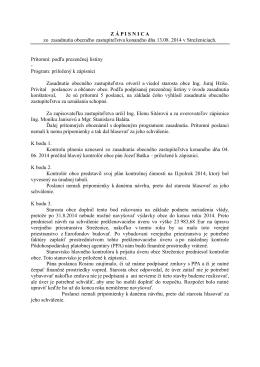 Uznesenia OZ z 3. zasadnutia konaného 13.08