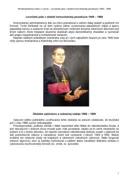 Levočské púte v období komunistickej perzekúcie 1949 – 1968