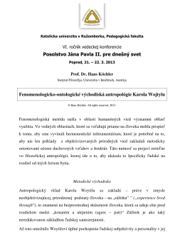 Fenomenologicko-ontologické východiská