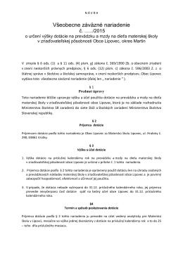 Návrh VZN o určení výšky dotácie na mzdy a prevádzku