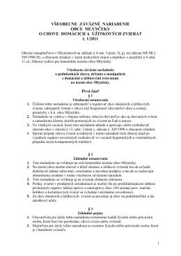 VZN o chove domácich a úžitkových zvierat č. 1/2011