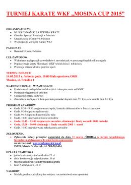 """turniej karate wkf """"mosina cup 2015"""""""