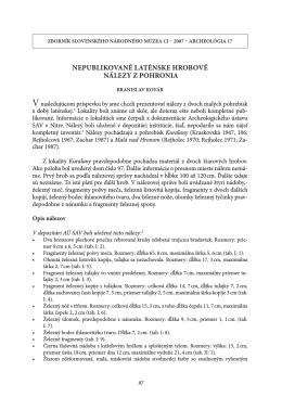 nepublikované laténske hrobové nálezy z pohronia