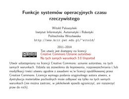 Funkcje systemów operacyjnych czasu rzeczywistego