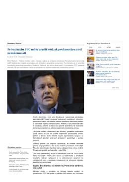 Vyjadrenie pre aktualne.sk na tému Privatizácie PPC