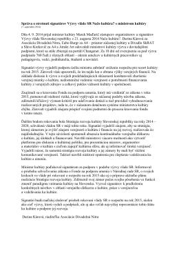 Správa o stretnutí signatárov Výzvy vláde SR Načo kultúra? s