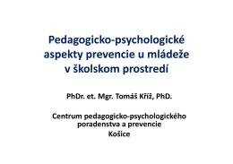 Pedagogicko-psychologické aspekty prevencie u mládeže v