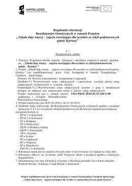 Regulamin rekrutacji - Wydział Oświaty i Edukacji