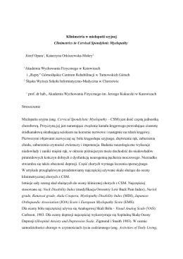 Klinimetria w mielopatii szyjnej Clinimetrics in Cervical Spondylotic