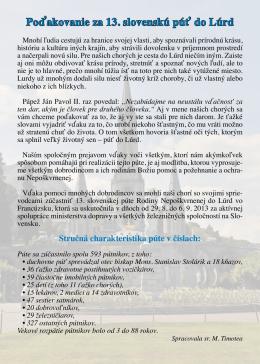 Poďakovanie za 13. slovenskú púť do Lúrd