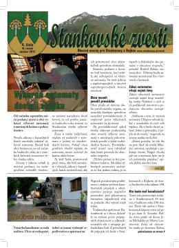 Stankovské zvesti, 2011, IV. ročník, 4. číslo