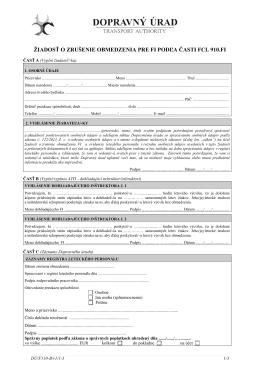 žiadosť o zrušenie obmedzenia pre fi podľa časti fcl