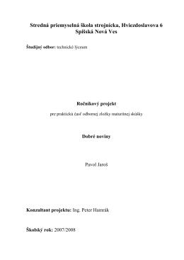 ročníkový projekt - Technické lýceum