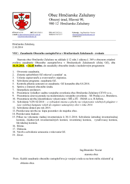 Pozvánka na zasadnutie OZ 10.10.2014