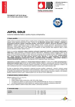 Technický list Jupol Gold